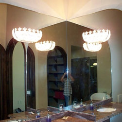 """mirrors and showers - 1/4"""" clear mirror with radius curve and holes for light fixtures"""