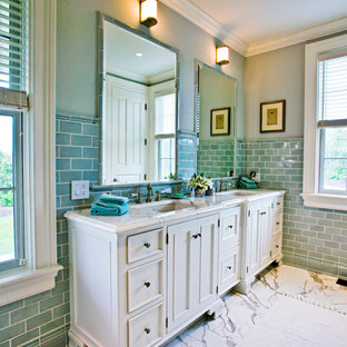 Inspiration for a timeless blue tile and subway tile bathroom remodel with an undermount sink, recessed-panel cabinets, white cabinets and blue walls