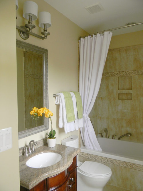 Bathroom Design Ideas Renovations Photos With Fresstanding Cabinets And Yellow Tiles