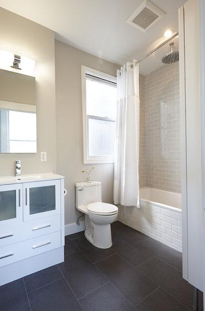 Transitional Bathroom by Nerland Building & Restoration, Inc.