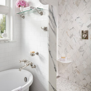 Inspiration for a small traditional ensuite bathroom in San Diego with freestanding cabinets, a claw-foot bath, a double shower, white tiles, marble tiles, a console sink, copper worktops and an open shower.