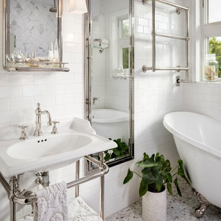 Photo of a small transitional master bathroom in San Diego with furniture-like cabinets, a claw-foot tub, a double shower, white tile, marble, a console sink, copper benchtops and an open shower.