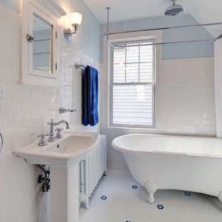 Inspiration for a small craftsman white tile and subway tile mosaic tile floor bathroom remodel in Other with a pedestal sink, a two-piece toilet and blue walls