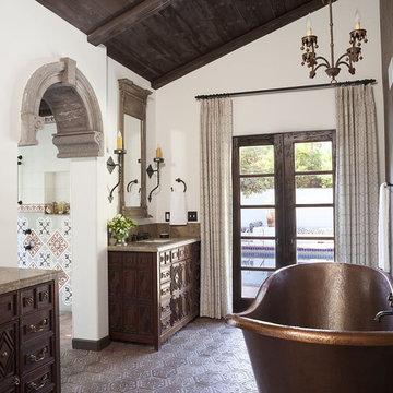 Mission Revival bathroom draperies