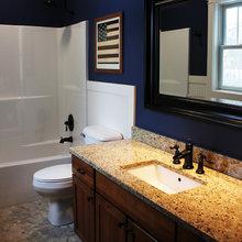 beach house master bath counter color scheme