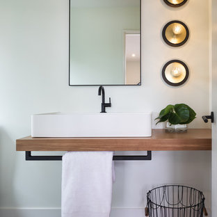 Small trendy porcelain floor and gray floor bathroom photo in Minneapolis with white walls a & Houzz | 50+ Best Small Bathroom Pictures - Small Bathroom Design ...