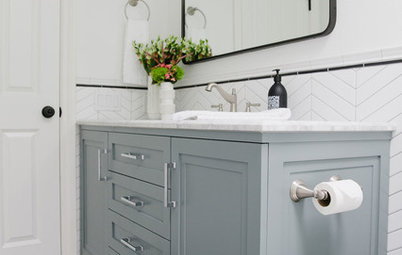 White Paint and Patterned Tile Freshen Up a 5-by-11-Foot Bathroom