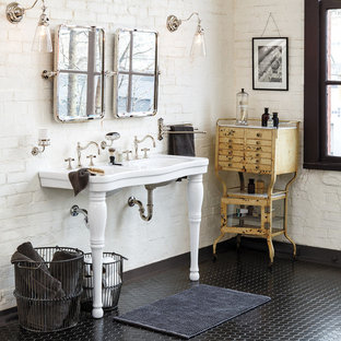Photo of a large traditional ensuite bathroom in Portland with freestanding cabinets, distressed cabinets, white walls and a console sink.