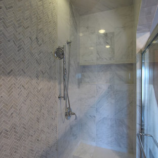 Mix of Marble Tile Sizes used in Walk In Shower