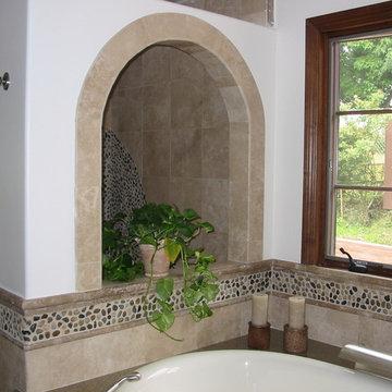 Mix Polished  Pebble Tile Bathroom Wall