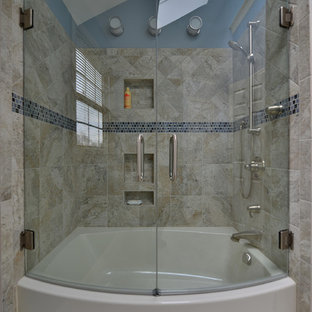 Inspiration for a mid-sized contemporary master beige tile, white tile and porcelain tile porcelain tile and beige floor bathroom remodel in Philadelphia with a hinged shower door and blue walls