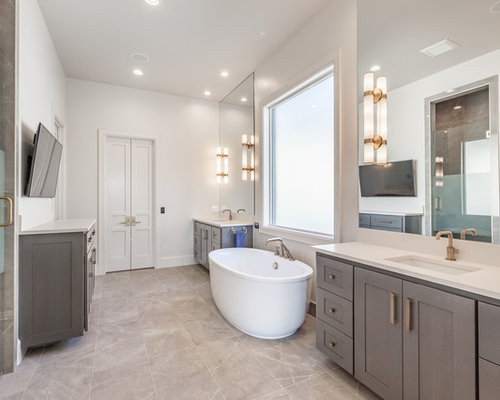 master bathroom ideas. Inspiration for a transitional master beige floor bathroom remodel in  Oklahoma City with shaker cabinets Top 100 Master Bathroom Ideas Designs Houzz