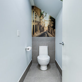 Inspiration for a small contemporary bathroom in Sunshine Coast with blue walls, ceramic floors, grey floor, a one-piece toilet, gray tile and porcelain tile.