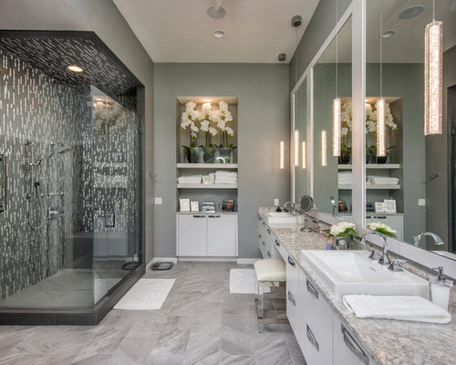 trendy master multicolored tile and matchstick tile gray floor bathroom photo in other with white cabinets - Matchstick Tile Bedroom Decor