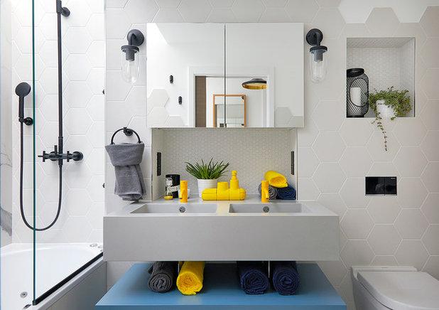 Bagno Legno E Mosaico : Mosaico bianco in bagno in bellissimi esempi