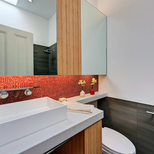 Bathroom Mid Sized Modern 3 4 Mosaic Tile And Red Idea