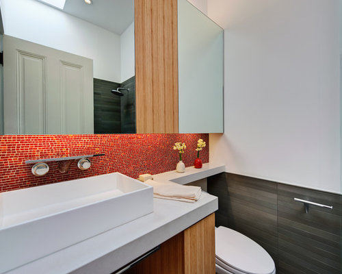 bathroom above sink cabinets. Bathroom  mid sized modern 3 4 mosaic tile and red bathroom idea Cabinet Above Sink Houzz