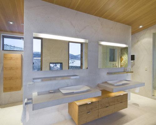 Master bath lighting houzz minimalist bathroom photo in denver with a vessel sink flat panel cabinets concrete aloadofball Gallery
