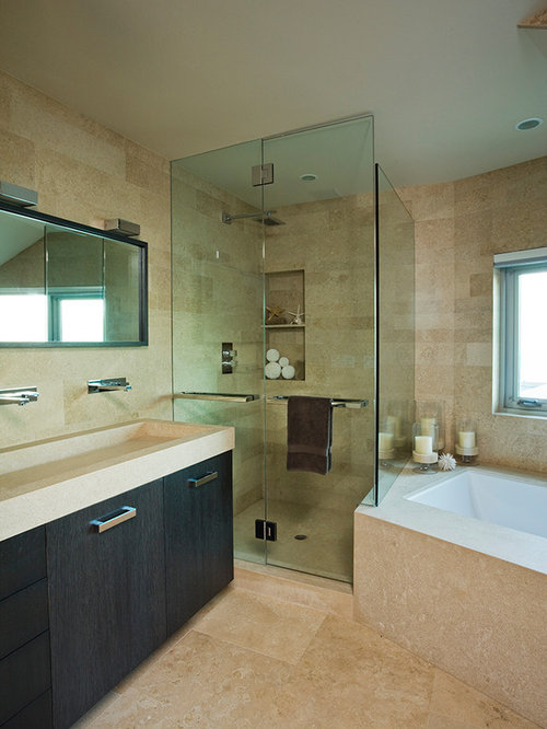 minimalist alcove shower photo in orange county - Bathroom Cabinets Kerala