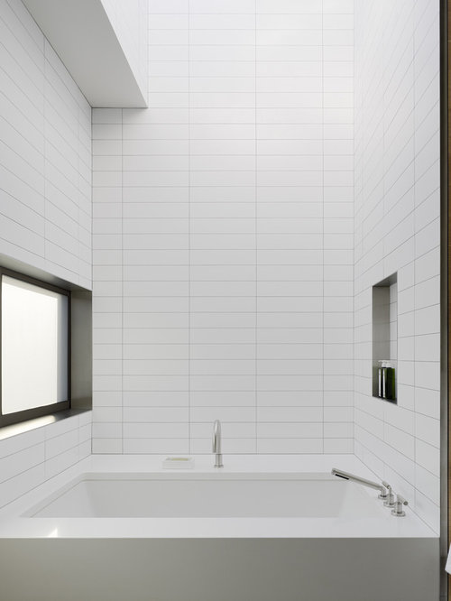 Inspiration For A Modern White Tile Bathroom Remodel In San Francisco With  An Undermount Tub Part 60