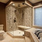 Ceramic Amp Glass Tile Shower Contemporary Bathroom