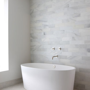 Design ideas for a modern bathroom in Chicago with a freestanding bath.