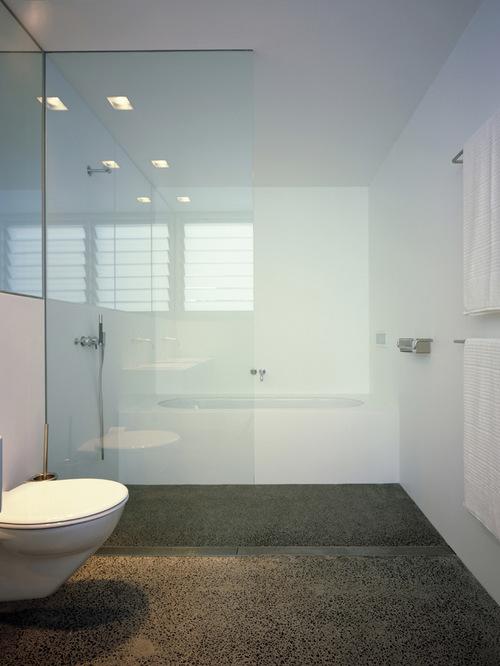 Polished concrete bathroom images for Polished concrete floor bathroom