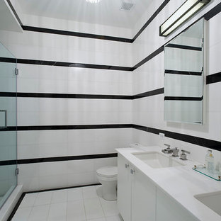 Minimalist Black And White Tile Alcove Shower Photo In New York With An Undermount Sink Save Modern Bathroom