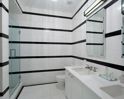 Minimalist Black And White Tile Alcove Shower Photo In New York With An  Undermount Sink,. Save Photo. Modern Bathroom