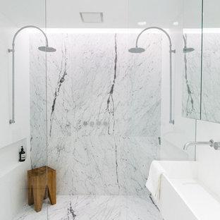 Esempio di una stanza da bagno padronale minimalista con doccia doppia, pareti bianche e lavabo rettangolare