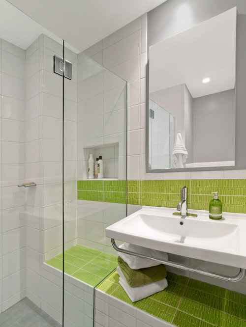 Example Of A Minimalist Green Tile Bathroom Design In New York With A  Wall Mount