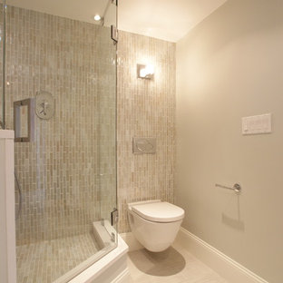 Minimalist subway tile corner shower photo in Boston with a wall-mount toilet