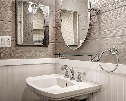 Salle d\'eau moderne avec un sol en bois brun : Photos et idées ...