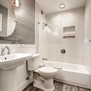 Example of a small minimalist master white tile and porcelain tile porcelain floor bathroom design in Phoenix with a two-piece toilet, gray walls and a pedestal sink