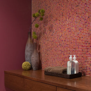Inspiration for a modern mosaic tile bathroom remodel in Boston with wood countertops