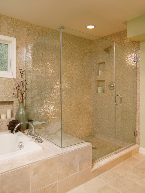 Example Of A Transitional Mosaic Tile Bathroom Design In Boston