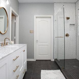 Salle de bain moderne avec une douche double : Photos et idées déco ...