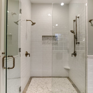 Example of a large minimalist master white tile and subway tile marble floor alcove shower design in Seattle with a one-piece toilet and gray walls