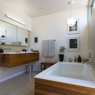 Example Of A Mid Sized Minimalist Terrazzo Floor Bathroom Design In Los Angeles With An