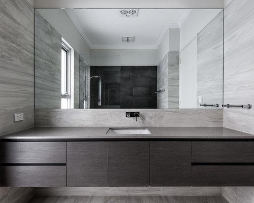 Kids Bathroom Design Ideas Renovations Photos With Dark Wood Cabinets