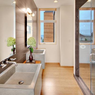 Bathroom - modern bathroom idea in Seattle with a vessel sink