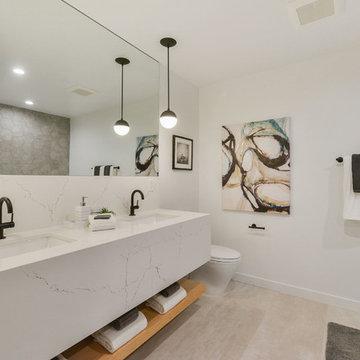 Modern Bathroom with Hexagon & Custom Carrara Vanity