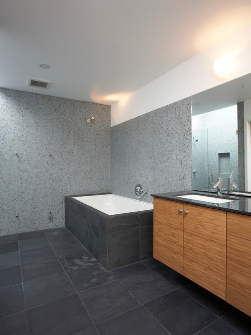 Modern Gray Tile And Mosaic Tile Bathroom Idea In San Francisco With An  Undermount Sink And
