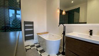 Modern bathrooms with herringbone tiling
