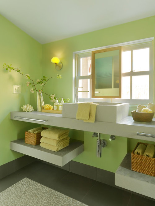 Green grey bathroom houzz for Green and gray bathroom designs