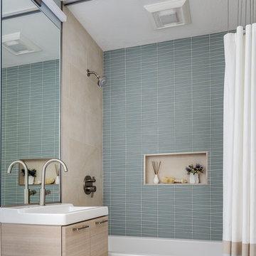 Modern Blue and Tan Bathroom