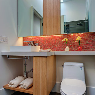 Small minimalist 3/4 red tile and mosaic tile bathroom photo in San Francisco with a vessel sink, open cabinets, a two-piece toilet, white walls, light wood cabinets and engineered quartz countertops
