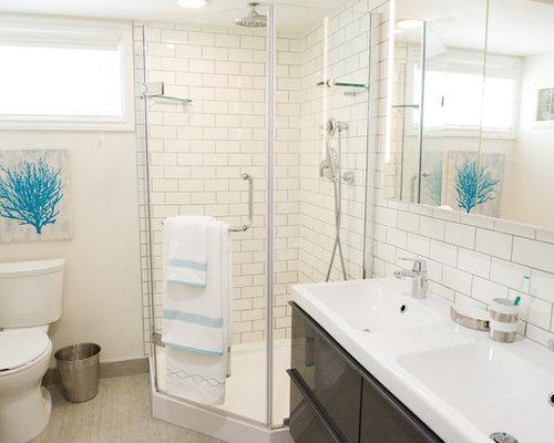 Contemporary calgary shower room design ideas renovations - Salle de bain beige ...