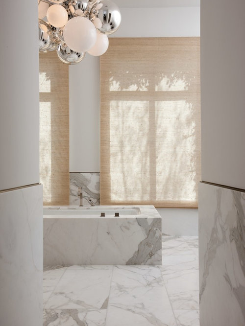 Inspiration For A Huge Contemporary Master White Tile And Stone Slab Marble  Floor Bathroom Remodel In