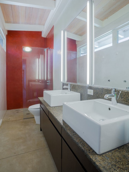 Grey bathroom ideas photos with red walls for Bathroom ideas with red walls